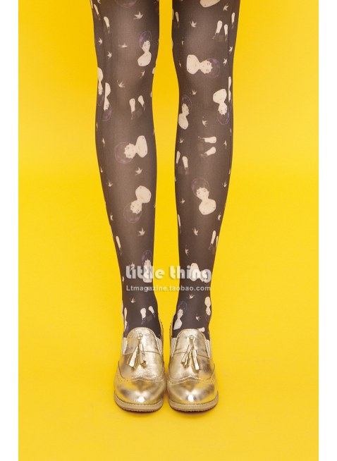 Unlogical Poem / ChinaDolly Print  Tights (Black)