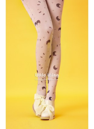 Unlogical Poem / ChinaDolly Print  Tights (Grey)