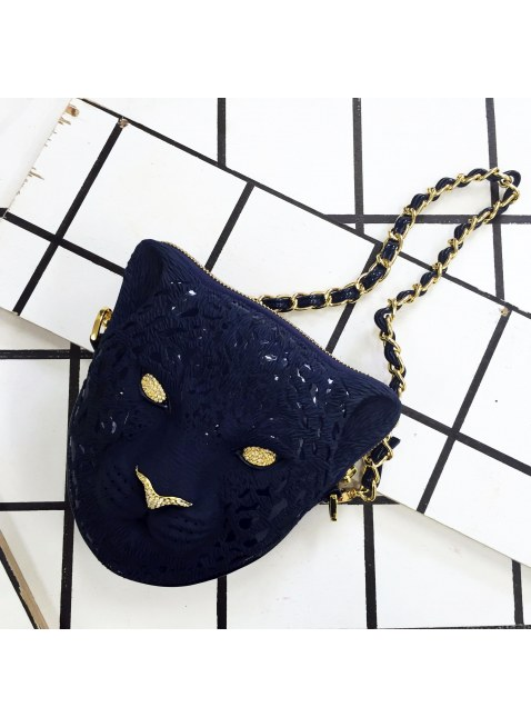 3D Bag (Dark Blue Leopard)