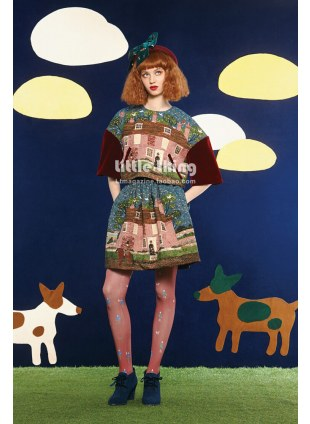 Unlogical Poem / Writer's Houses Print  Tights (red)