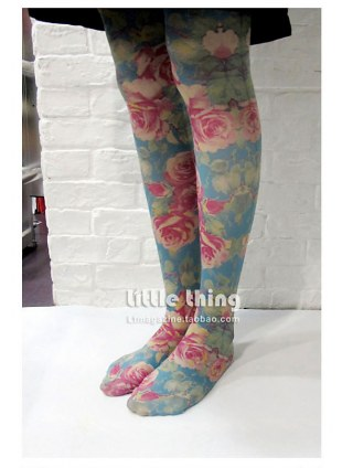 Unlogical Poem / Rose  Print  Tights (green)