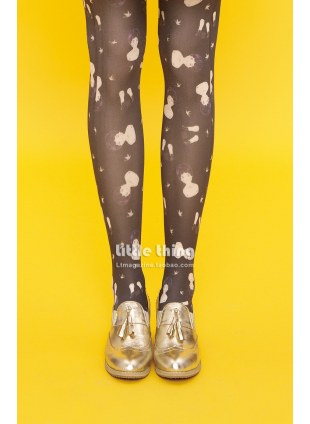 little thing X MIA Portrait of Girls Doll Print Tights (black)