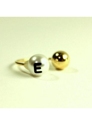 initial pearl 2way ring -E-