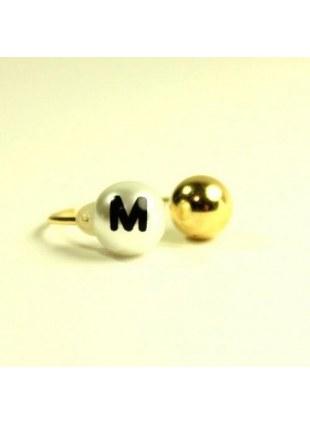 initial pearl 2way ring -M-