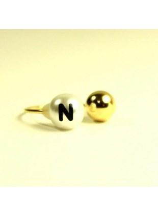 initial pearl 2way ring -N-