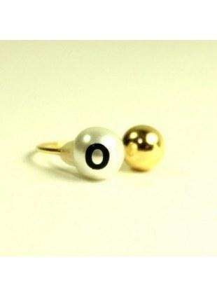 initial pearl 2way ring -O-
