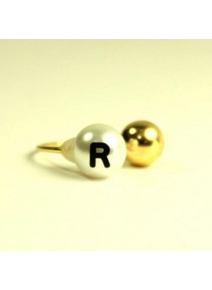 initial pearl 2way ring -R-
