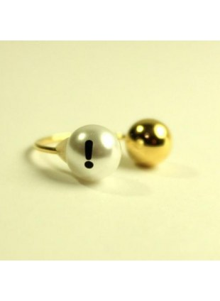 initial pearl 2way ring -!-