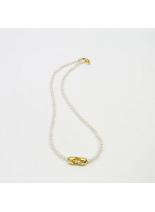 Pearl Ball Chain Necklace(GOLD)