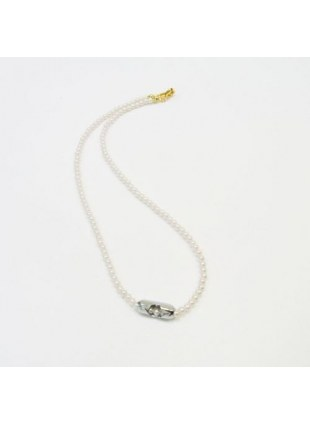 Pearl Ball Chain Necklace(SILVER)