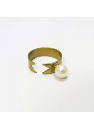 Pearl Ribbon Ring (GOLD)