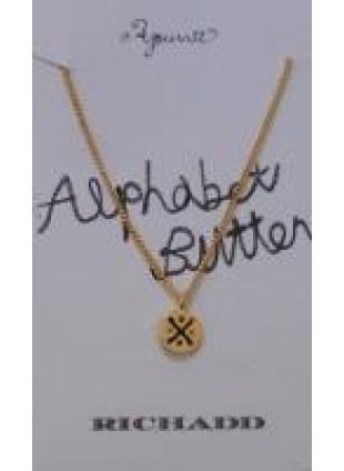 Alphabet Button Necklace (X)