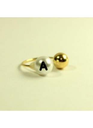 initial pearl 2way ring -A-