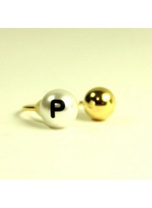 initial pearl 2way ring -P-
