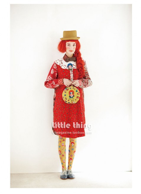 little thing X MIA Portrait of Girls Doll Print Tights (Yellow)