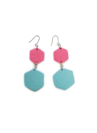 Leather Cover Pierce Flat pink × light blue