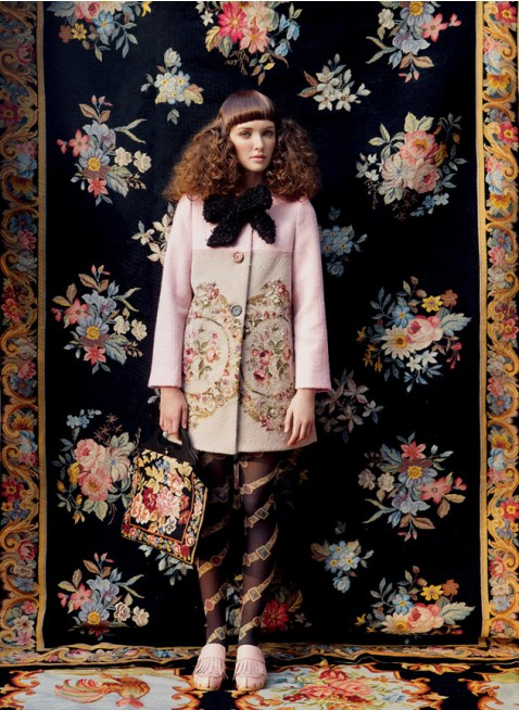 Unlogical Poem / Antique wool needlepoint tapestry Coat