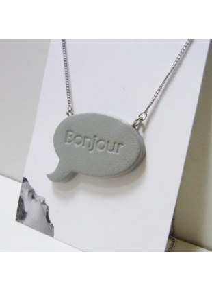 Speech balloon Necklace(gray)