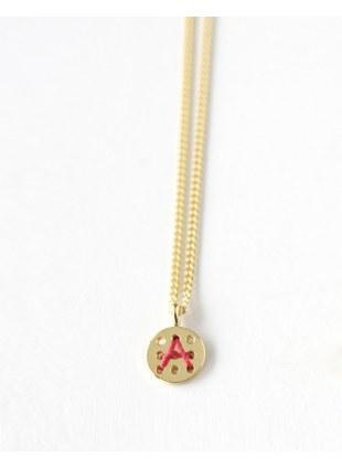 Alphabet Button Necklace (A)