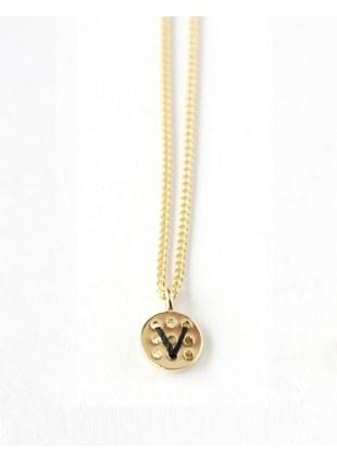 Alphabet Button Necklace (V)