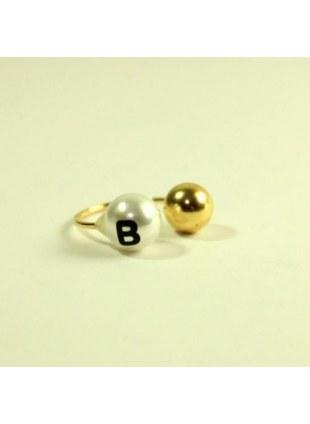 initial pearl 2way ring -B-