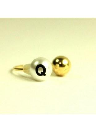 initial pearl 2way ring -Q-