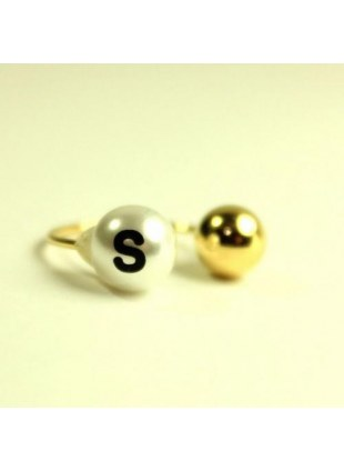 initial pearl 2way ring -S-