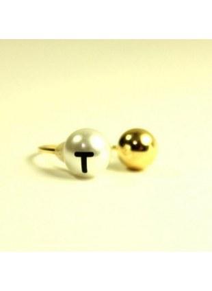 initial pearl 2way ring -T-