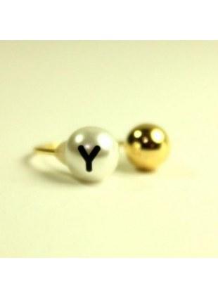 initial pearl 2way ring -Y-